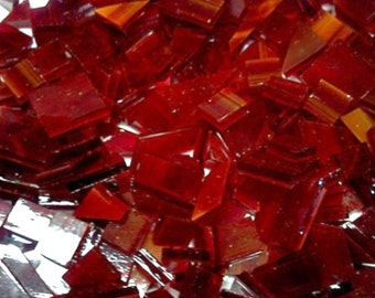 75 Mixed Sizes CHERRY RED WISPY - Mosaic Glass Tile O5