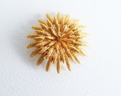 Reserved for Aster Gold Jewelry Gold Starburst Pin Large Gold Flower Brooch Round Gold Monet Flower Pin Gold Monet Chrysanthemum Brooch