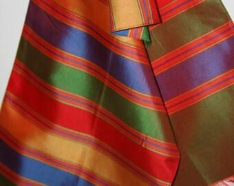 """Raw Silk Pale Orange Scarf with Eyelash Fringe 9 x 40"""" Rectangular Horizontal Stripes Multi Color"""