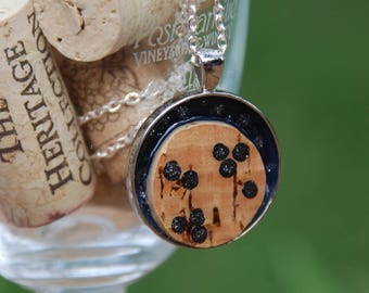 Wine Cork Necklace Black with Silver Glitter Polka Dots