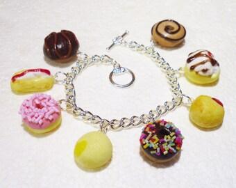 Doughnut Charm Bracelet. Polymer clay.