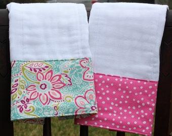 Burp Cloth Set, Monogrammed Burp Cloth Set, Personalized Burp Cloth Set, Baby Girl Burp Cloth Set