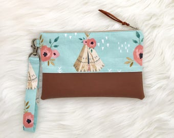 Floral tribal wristlet, teepee and floral wristlet