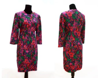 Neon Abstract Psychedelic Rose Print Shift Dress. 1980's. Vintage. By CJ Selections.