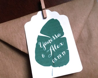 Greenery Wedding Favor Tags Deep Green Leaf on Large White Tags to contrast Kraft Bags or Bright Florals Custom Wording 50