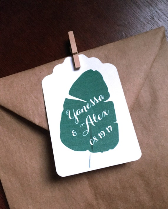Greenery Wedding Favor Tags Deep Green Leaf on Large White Tags to ...