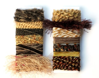2 Art Fiber Sample Cards - in Brown, Tan & Gold - Novelty Yarn Bundle Samples - for Gift Wrap Ribbon, Instant Scarf, Jewelry Embellishment