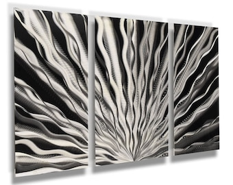 "Silver Wall Art Panels Metal Aluminum Art Sculpture Large Contemporary Home Decor ""Vibration"" DV8 Studio Modern Abstract Home Decor"
