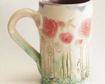 ceramic red flower coffee mug 16oz stoneware 16B094