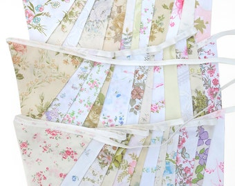Vintage Bunting . Pretty Spring Pastel & Ivory / White Multi-Colour Floral Flags x 3 . Engagement * Wedding * Garden Party