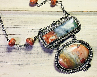Sterling Silver Nevada Black Rock Dessert Agate Necklace, Art Jewelry