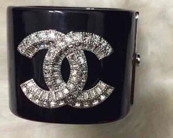 Crystal Rhinestone Acrylic Bracelet Cuff