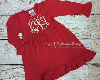 Embroidered puff sleeved white dress - Red Chirstmas Tree Dress