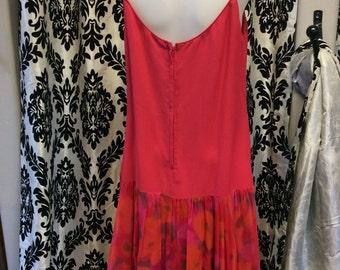 Red Chiffon Drop-waist dress with floral detail