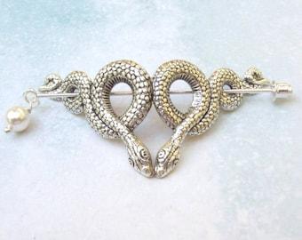 Silver Snake Shawl Pin, silver shawl pin, reptile, lapel pin, stick pin, hat pin, goth, fall fashion, silver scarf pin, snake pin
