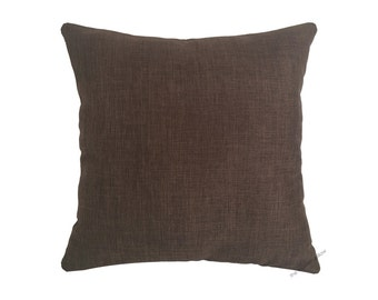 Brown Cosmo Linen Decorative Throw Pillow Cover / Pillow Case / Cushion Cover / 20x20""