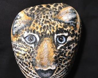 """Hand Painted Leopard Stone 7 1/2"""" x 6 1/2"""""""