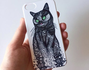 Cat phone case / Illustrated Animal phone case / iPhone 7 / 7 Plus / 6 / 6S / SE / 5 / 5S / Samsung Galaxy S7 / S6 / S6 Edge / S5