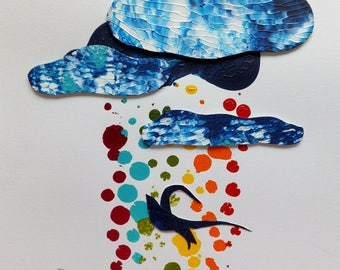 Blue Bird, Colored Rain, Original Painting with Dimensional Clouds