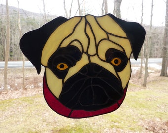 Stained Glass Pug Suncatcher