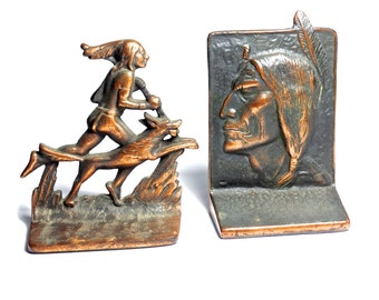 Antique Native American Copper Bookends, Antique SW Native American Iron Bookends, Southwest Decor, American Style, Old West, Americana