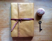 Large Leather Journal-Handmade-Thick Leather in Mustard-Travel-Gift Idea-Rough and Tough Traveller
