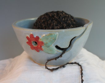 Blue  Yarn Bowl with flower - Knitting Organizer - handmade pottery - in stock and ready to ship