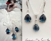 Blue sapphire jewelry set ~ Blue sapphire teardrop necklace and earring set, Sterling, Bridal jewelry set,Wedding jewelry set,Something Blue