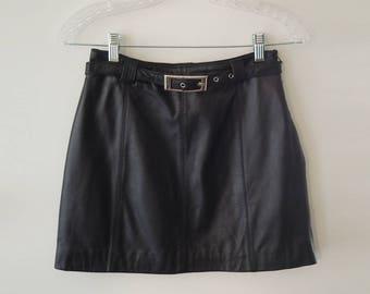 90S Black Mini Leather Skirt - SMALL // Detachable Belt // High Waist