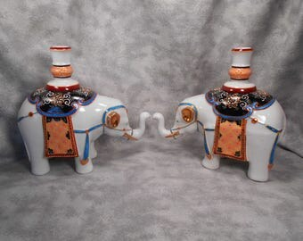 Large Pair of Andrea Colorful Elephant Candleholder Figurines MINT