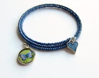 Blue Butterfly Bracelet, Butterfly Charm Bracelet, Beaded Wrap Bracelet, Multistrand Bangle, Boho Jewelry, One Size