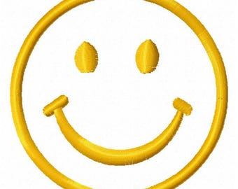 Happy Face Machine Embroidery Design - Instant Download