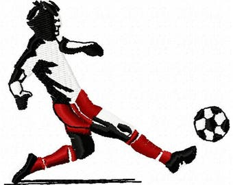 Soccer Player Machine Embroidery Design - Instant Download