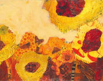 Sunflowers, original painting in mixed media
