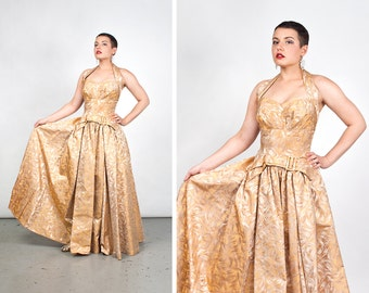 Vintage 1950s Gold Brocade Halter Full Length Gown