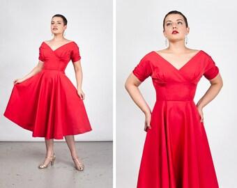 Vintage 1950s Red Grosgrain Cocktail Dress
