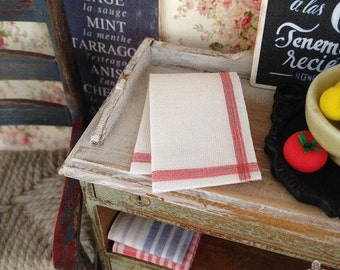 Traditional Red Tea Towel for Dollhouse Miniature, 1:12 scale.