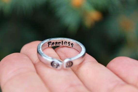 Fearless Stacking Mantra Ring, Adjustable Ring, Hand-Stamped Fearless Ring, Stackable Ring, Inspiration Inside, Be Fearless Jewelry, Mantra