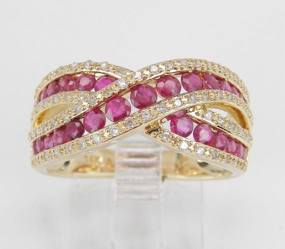 Ruby and Diamond Wedding Band Bypass Anniversary Ring 14K Yellow Gold Size 7