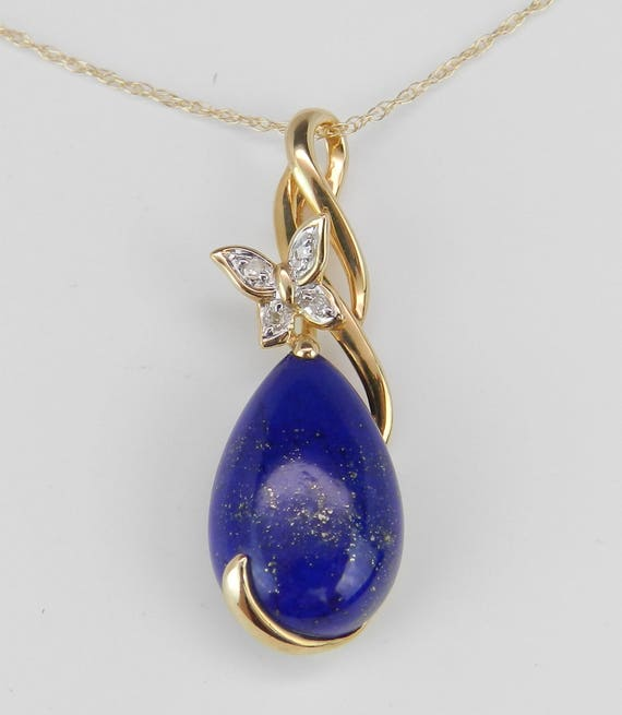 """Diamond and Lapis Lazuli Butterfly Pendant Necklace 14K Yellow Gold 18"""" Chain"""