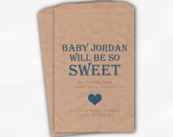 Baby Is Sweet Candy Buffet Treat Bags - Personalized Baby Shower Favor Bags in Medium Blue - 25 Custom Kraft Paper Bags (0148)