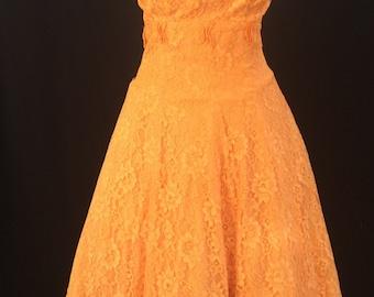 "50's orange lace strapless scalloped dress size 26"""