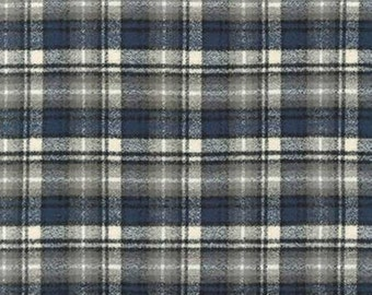 Plaid - Flannel - Ash Plaid - Mammoth - Black - Blue - Cream - Ivory - Cotton - Robert Kaufman Fabrics - Fabric by the Yard -  BACKORDER