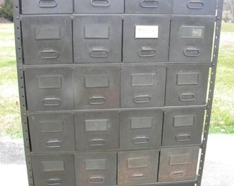 Large Vintage Antique 1940s METAL 24 Drawer INDUSTRIAL Storage Cabinet  Steampunk Pick Up Only