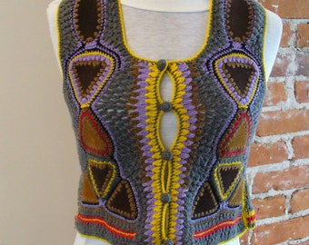 Vintage Tally-Ho Crochet & Suede Vest Sweater