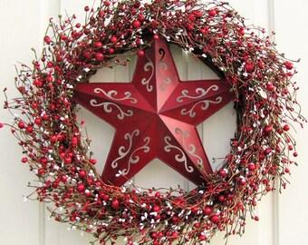 SALE - READY To Ship - Large Wreath - Christmas Berry Wreath - Seasonal Wreath - Rustic Door Decor - Christmas Home Decor - Star Wreath