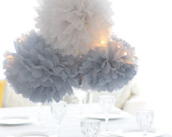 Dusty blue.. 12 mixed size Tissue paper  Pom Poms set  Wedding  Party Bridal Shower Birthday Nursery Decorations