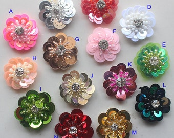 """30pcs 2.3cm 0.9"""" wide yellow/pink/blue flower sequins beads Rhinestones shoes bag socks appliques patches brooch N41Y83P0219P free ship"""