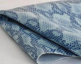 Python Print Genuine Leather, Snakeskin Print Leather, Blue Genuine Leather