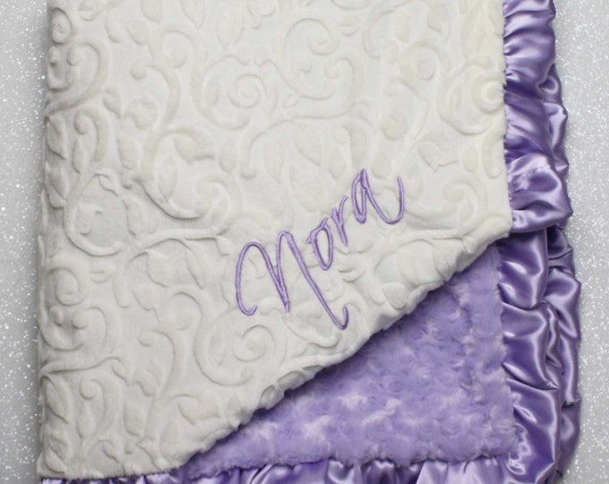 Embroidered Minky Blanket, modern baby blanket, personalized baby blanket, lavender and ivroy, purple minky, baby girl, vine scroll minky